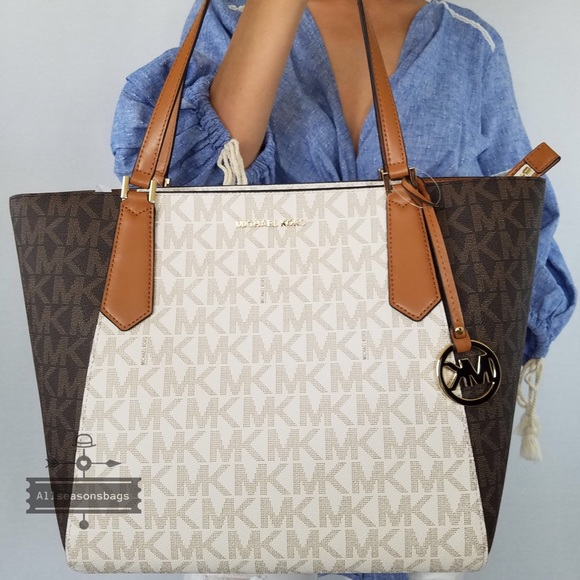 Michael Kors Kimberly Large bonded tote brown bag NWT